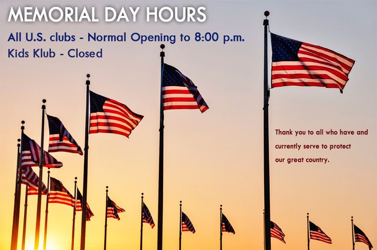 LA Fitness and Kids Klub Hours for Memorial Day 2014