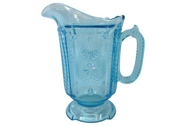 Ice Blue Victorian Water Pitcher
