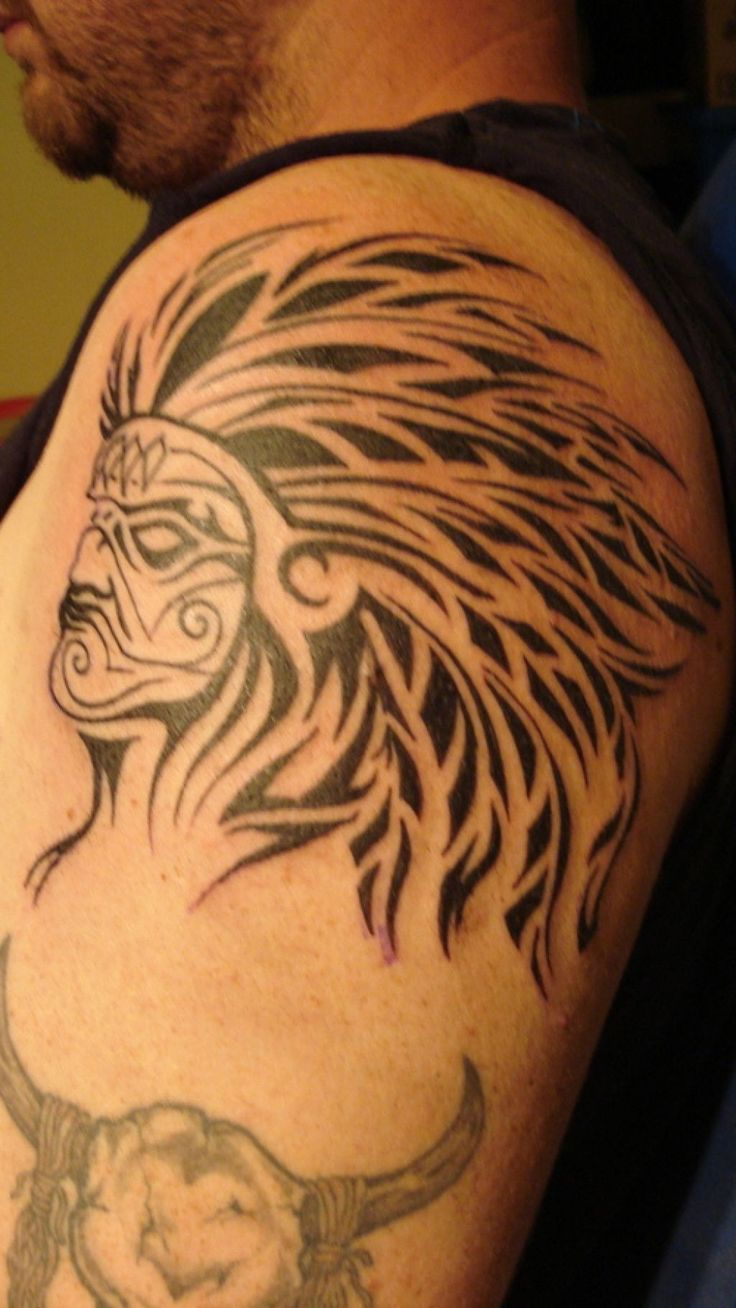 Indian with eagle and wolf tattoo on shoulder tattooimages biz - 21 Indian Tattoo Images Pictures And Design Ideas