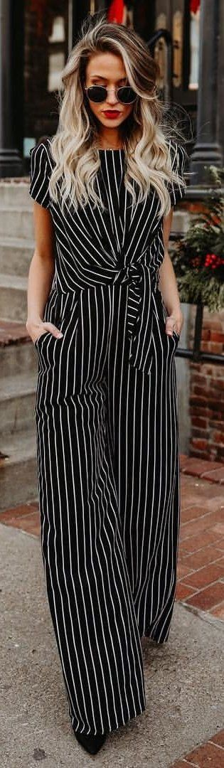 #winter #outfits white and black stripes jumpsuit