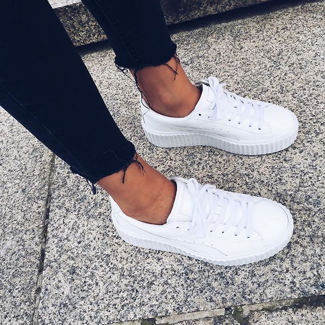 puma creepers all white