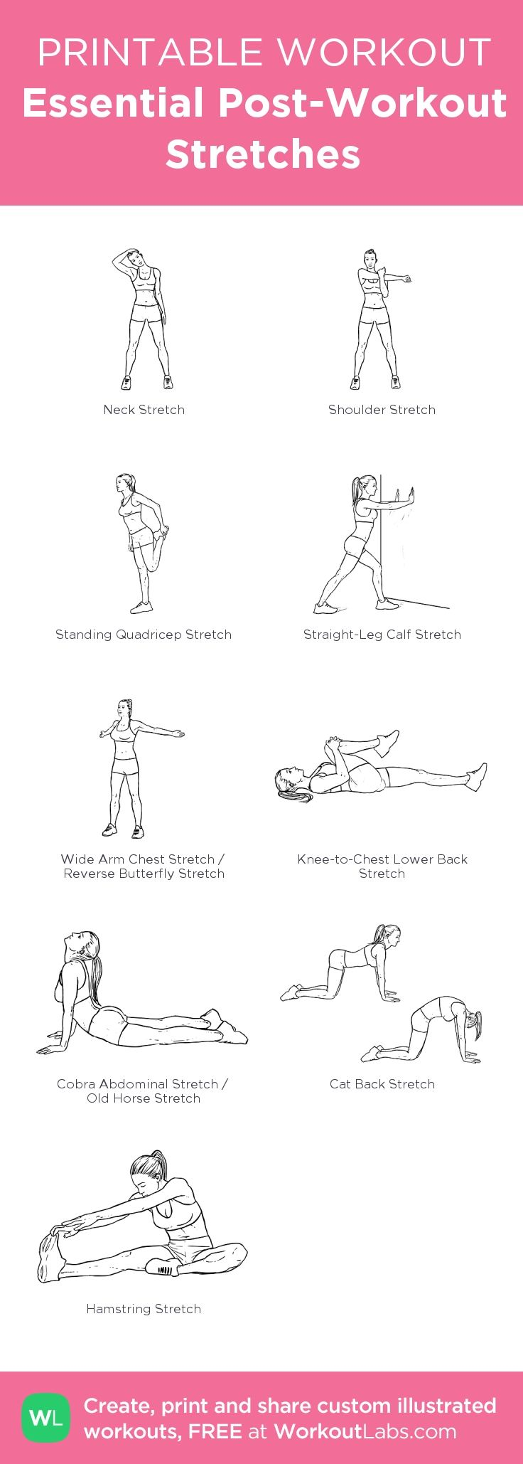 Essential Post-Workout Stretches – my custom workout created at • Click through to download as printable PDF! #customworkout #weightlossmotivation