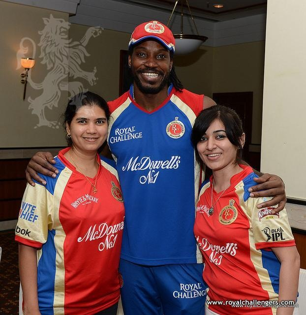 Lucky RCBians with Chris Gayle!