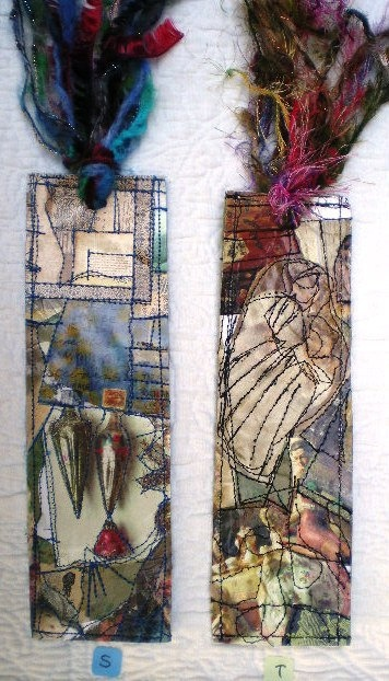 crazy quilt bookmarks...beautiful! via Etsy Bookmarks - Marcapáginas - Puntos de libro