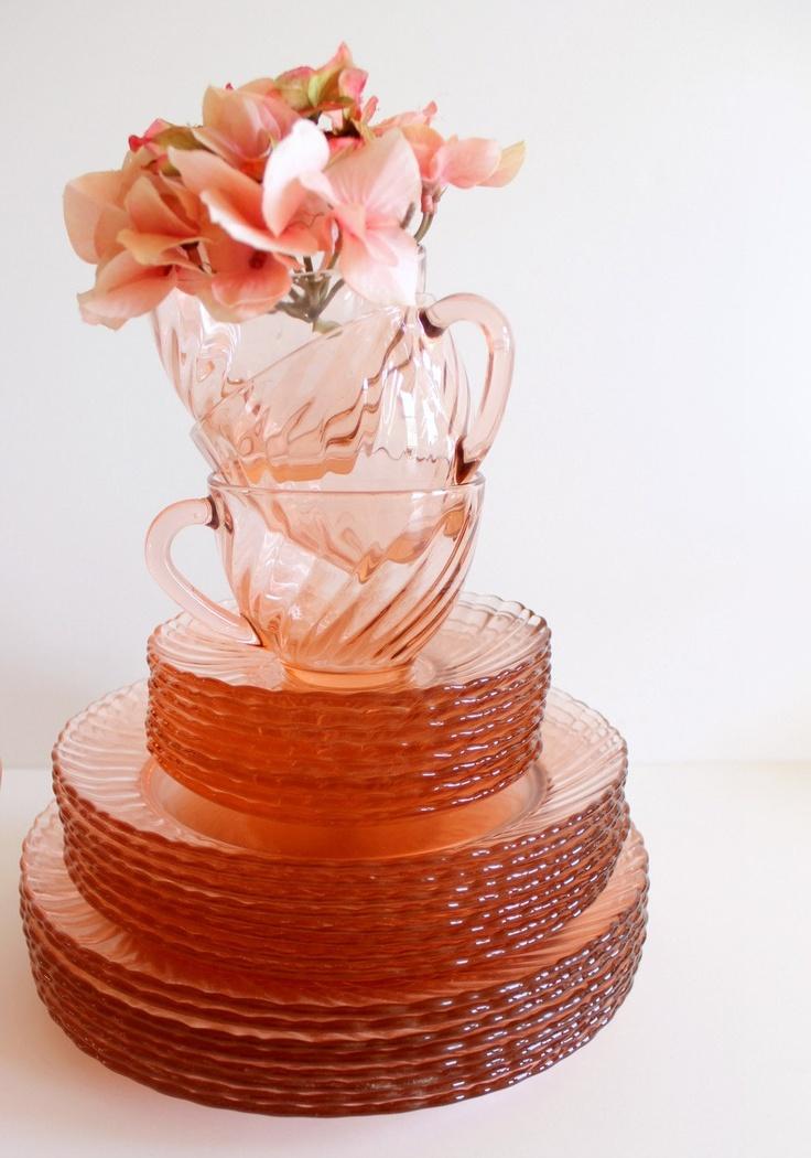 Vintage Arcoroc France Rosaline Swirl Pink Glass Dish Set. Tea Set. $78.00, via Etsy.