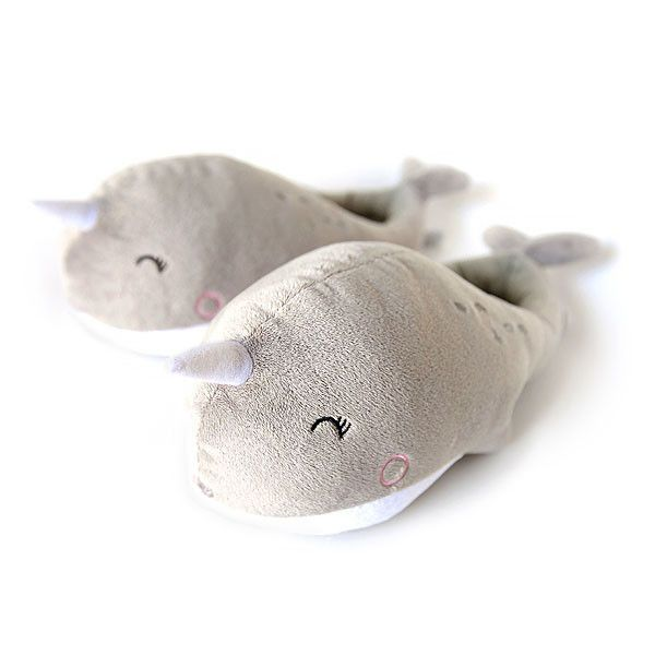 "Narwhal USB Heated Slippers | $34.99 | These Narwhal slippers are made of cozy cotton and polyester, they will keep your feet warm when you use the detachable USB cable to plug them into your Mac, PC, or other USB port. USB cable is 57"" long so you can stretch out and still keep warm. One Size fits most, up to Men's size 12. Each slipper measures 12"" x 5"". Go wireless for $49.99."