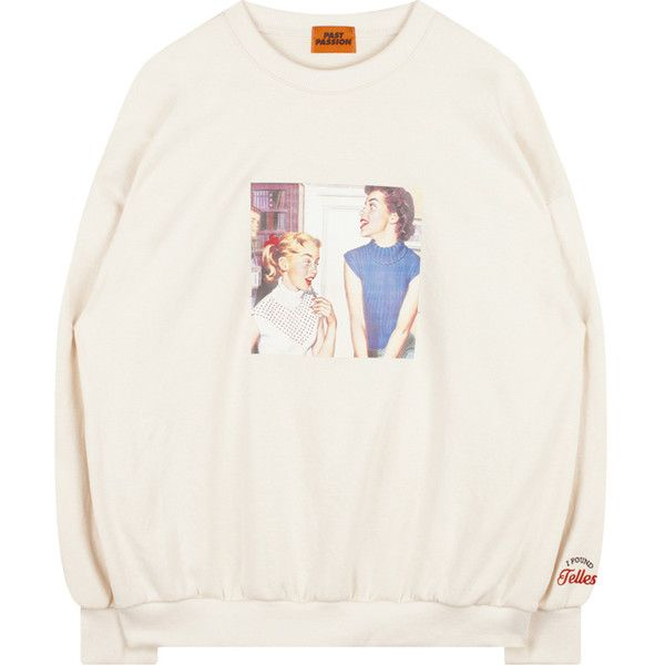 Vintage Sisters Print Sweatshirt (£27) ❤ liked on Polyvore featuring tops, hoodies, sweatshirts, drop shoulder tops, loose white top, loose tops, patterned tops and bunny sweatshirt