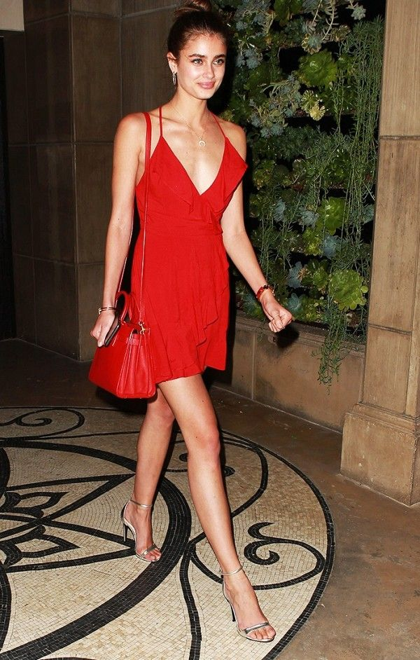 The perfect date-night look—a little red dress.