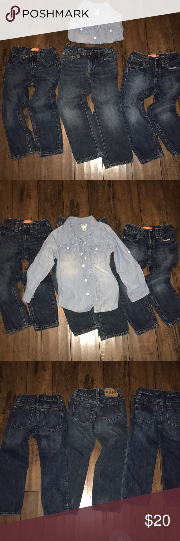 Boys Jeans & shirt 2 pair old navy size 4t adjustable. 1 pair pol (4t) 1 denim old navy shirt 5t. Perfect condition. Bundle. No stains. No rips. No tears. Non smoking. Old Navy Bottoms Jeans