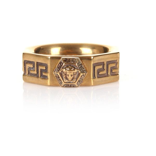 Versace Greca 3D Octagon Ring found on Polyvore featuring polyvore, men's fashion, men's jewelry, men's rings, mens yellow gold diamond rings, vintage mens rings, versace mens ring, mens vintage gold rings and mens gold rings