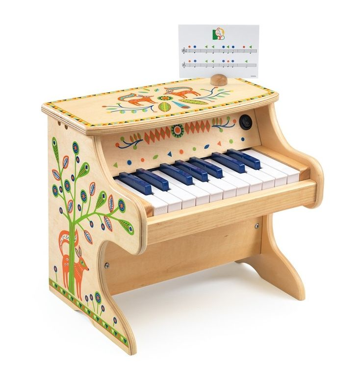 So beautiful looking and friendly kid size. A lovely way for my daughter to start learning to play! #EntropyWishList #PintoWin Djeco - Musical Instrument Animambo 18 Key Piano