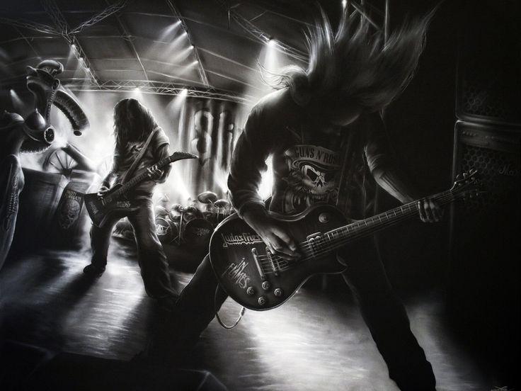группы, музыка, черно белое, гитары, рисунок 1024 x 768