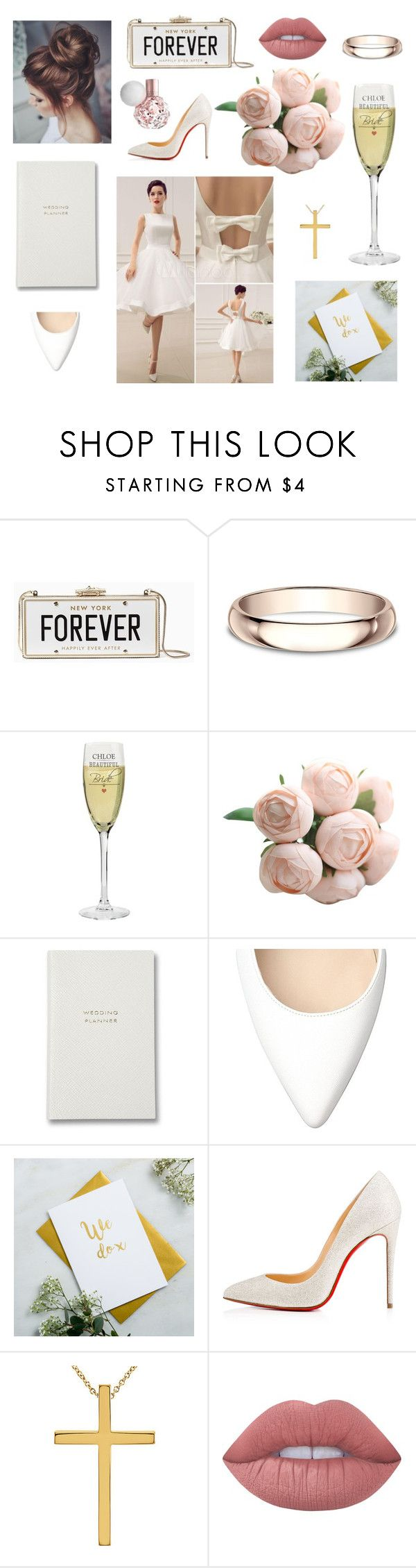 """Wstępna stylizacja do ślubu. Przygotowania czas zacząć."" by sweetlittlebunny on Polyvore featuring moda, Kate Spade, Modern Bride, Posh Totty Designs, Christian Louboutin i Lime Crime"