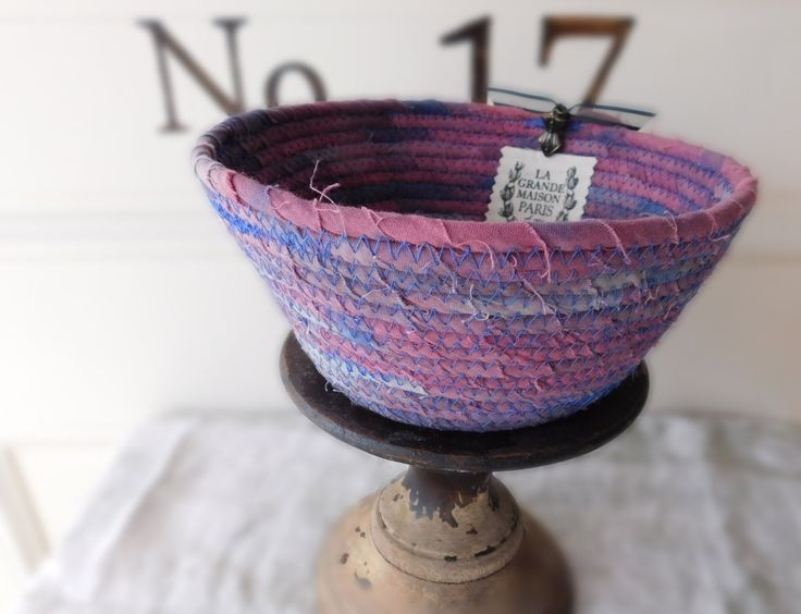 La Grande Maison Paris Fabric Rope Basket | Handmade Hand Dyed | French Theme Basket | Office Desk Storage Basket | Laura Loxley Vintage by LauraLoxley on Etsy