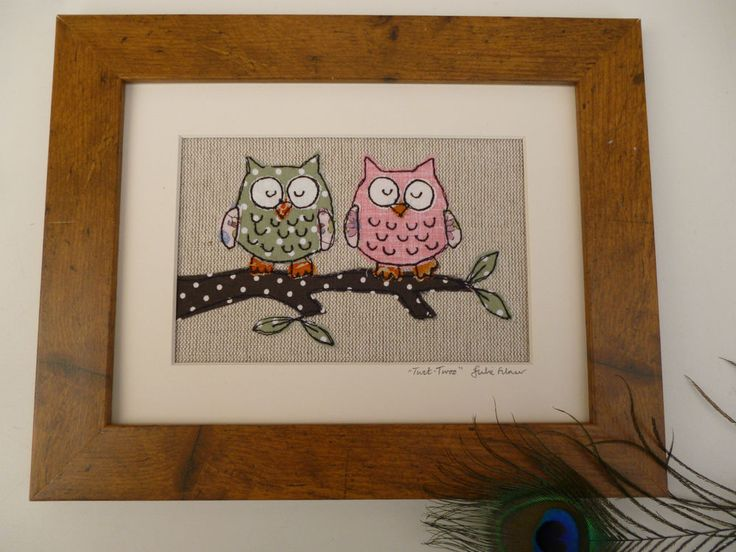 Handmade Owl Applique Framed Picture with choice of frame by Textile Artist gift