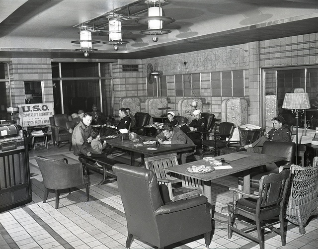 This interior shot of the Rookwood Room shows the facilities available to #troops passing through.  This space had cookies and coffee available, as well as music, and reading material for the troops.  They could also get stationary to write home. #CincyMuseum #UnionTerminal #vintage Betz-Marsh Collection SC#309