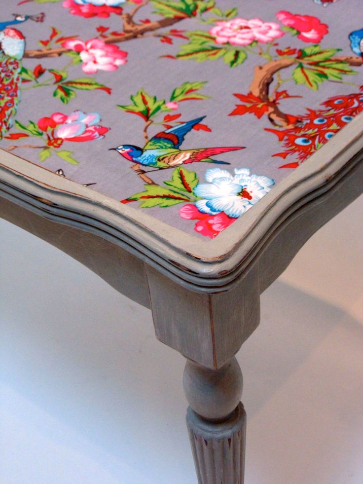 Beautiful fabric decoupaged onto table surface - Upcycled Coffee Table