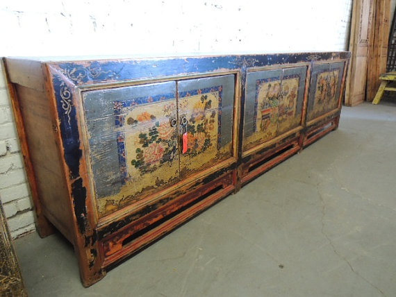 Antique Chinese Storage Credenza With Gray Doors Los Angeles By  ModernRedLA, $2480.00
