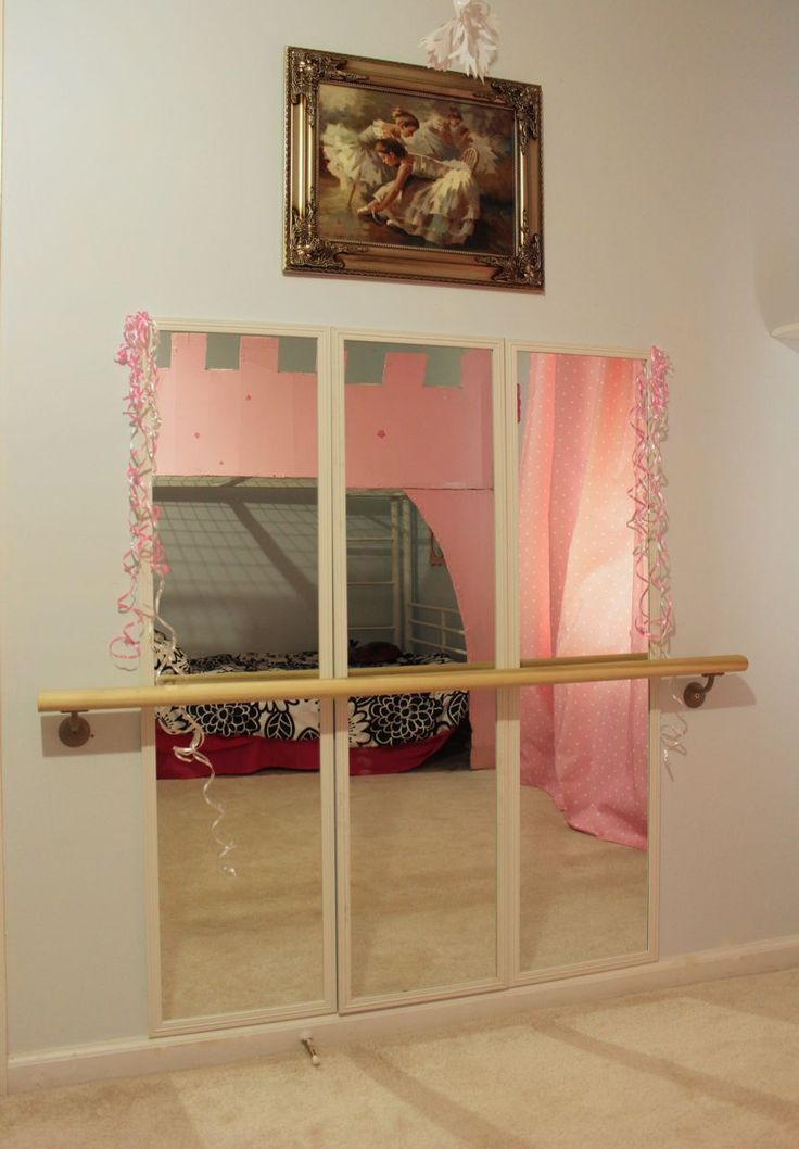 DIY Ballet Studio in our little girls room...success! Mirrors were $4.50 at walmart and hand rail from Home Depot. So easy!
