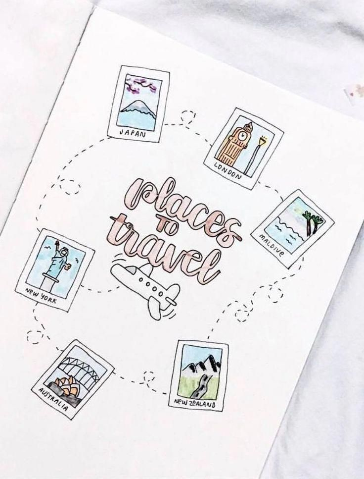 Social Media PinWire bullet journal travel page