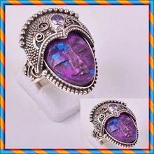 Toller Feuer Opal Ring 925 Silber Ring Antik Stil