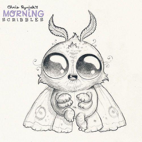 Fuzzy moth.  #morningscribbles | by CHRIS RYNIAK