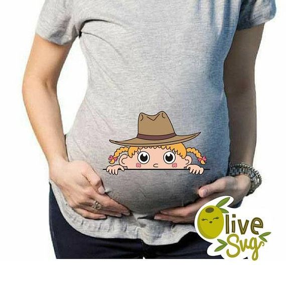 62e596a6c3158 Cowgirl baby svg peeking baby svg funny maternity t shirts ...