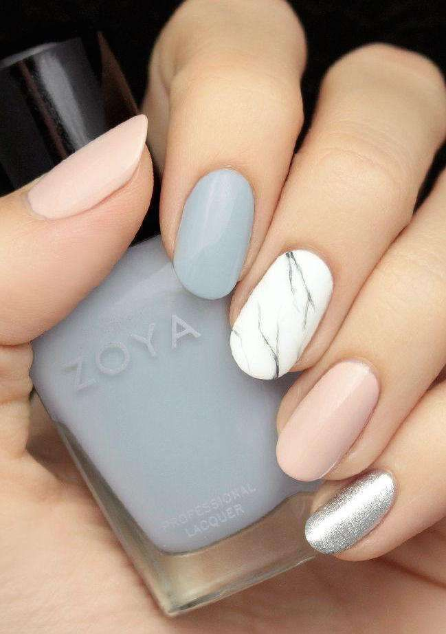 Unghie da sposa 2016 - Colori soft alternati per nail art da matrimonio