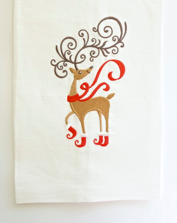 Reindeer with Boots Christmas Towel in Linen or Hemstitched