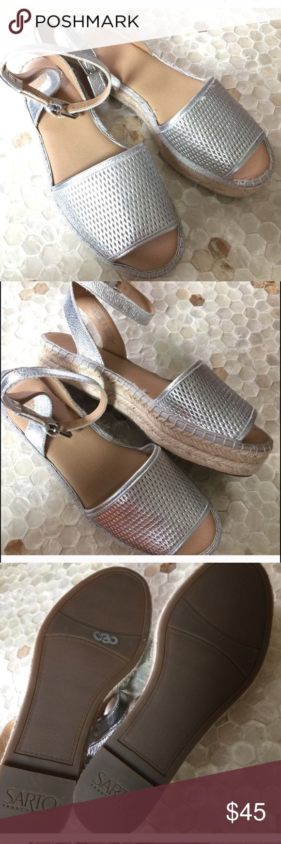NWOT Franco Sarto silver espadrilles 7.5 Super cute. Go with everything during spring and summer. Have small wedge. Make me an offer Franco Sarto Shoes Espadrilles