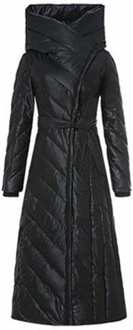 Long Paneled Puffer Down Coat