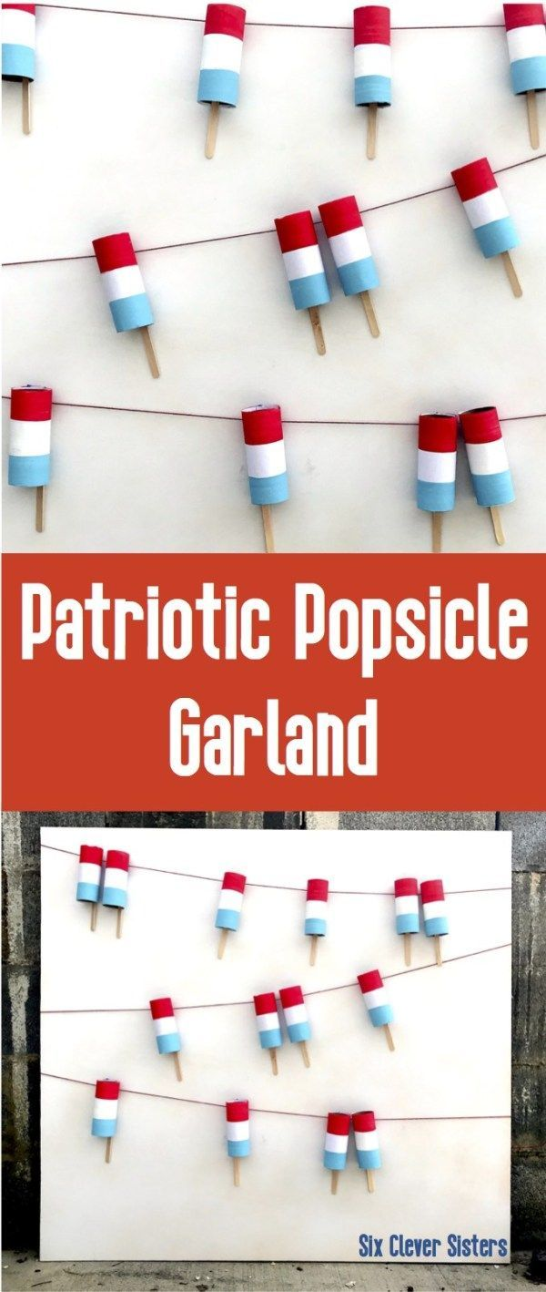 A simple tutorial for patriotic popsicle garland to make your 4oth of July party cute and fun! Great backdrop for lemona…