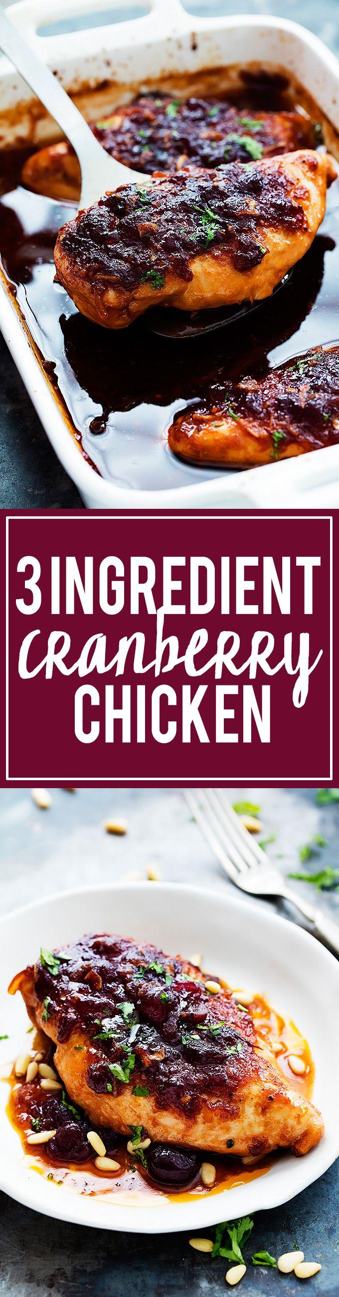 3 Ingredient Slow Cooker Cranberry Chicken | Creme de la Crumb