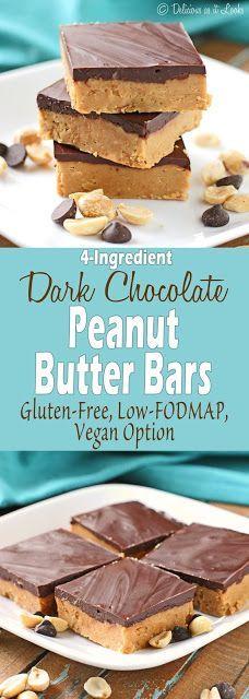4-Ingredient, No-Bake Dark Chocolate Peanut Butter Bars {Low-FODMAP, Gluten-Free, Vegan Option} / Delicious as it Looks