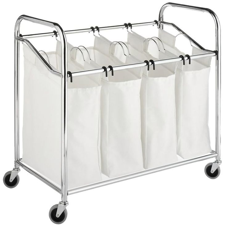 Whitmor's chrome and canvas laundry sorter features four separate heavy duty 100-percent canvas bags that hook on to the chromed steel frame. Each bag features a chrome handle for easy portability making your laundry sorting a breeze.