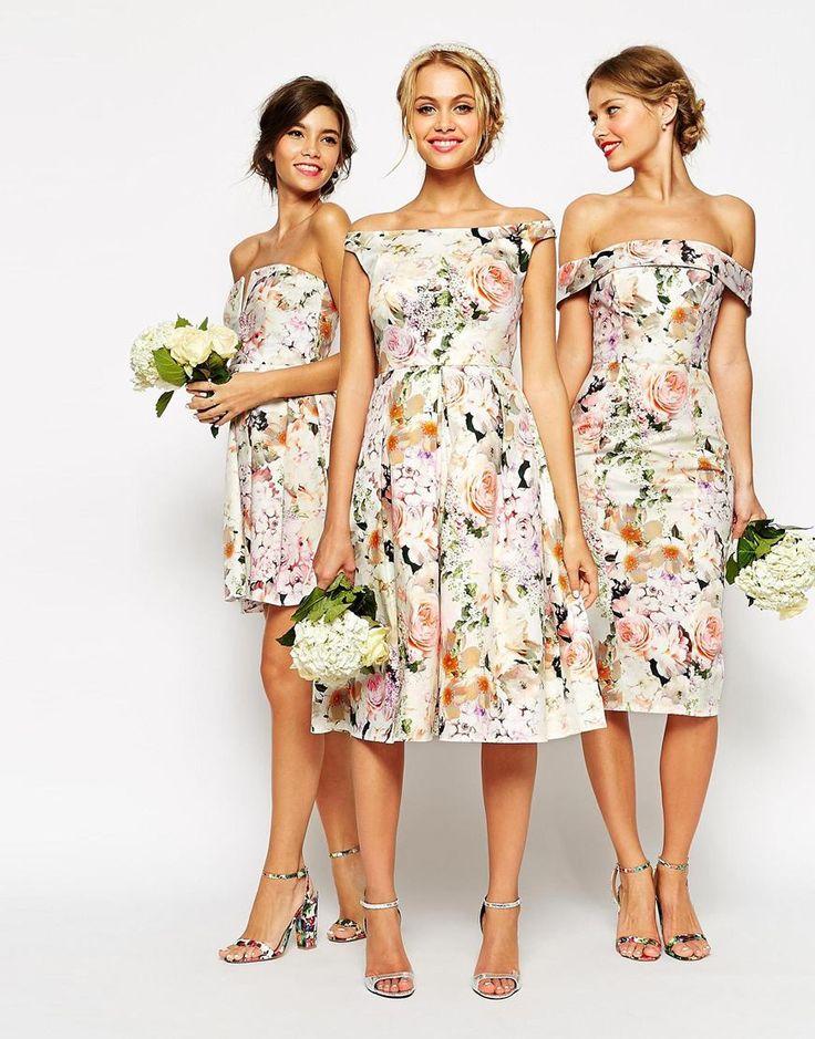 Image 4 ofASOS WEDDING Midi Floral Prom Dress