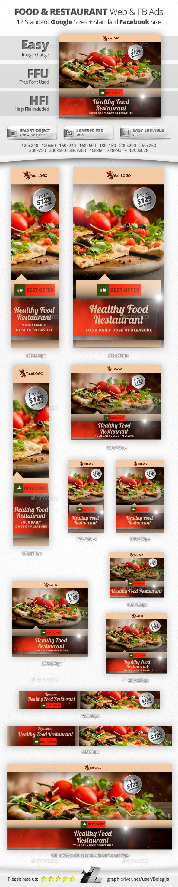 Food & Restaurant Web & Facebook Banners - Banners & Ads Web Elements