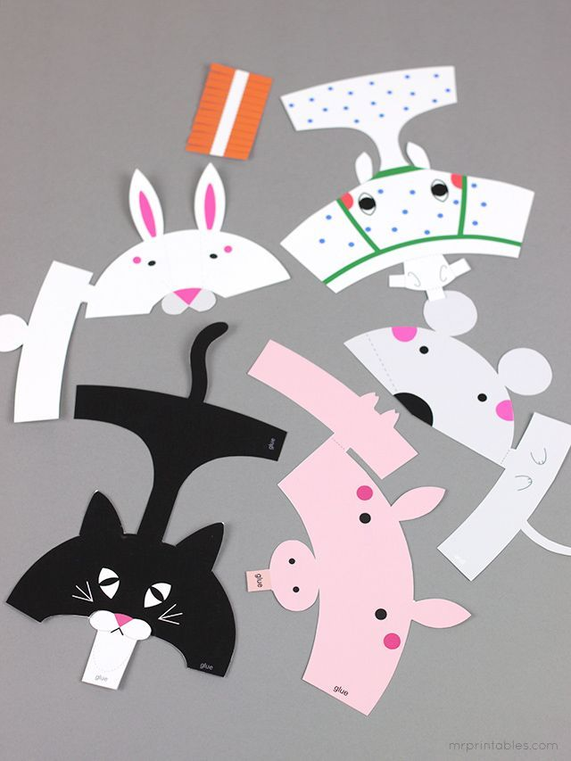 FREE printable Animal Finger Puppets for kids ( horse, mouse, cat, bunny, pig) | Mr Printables