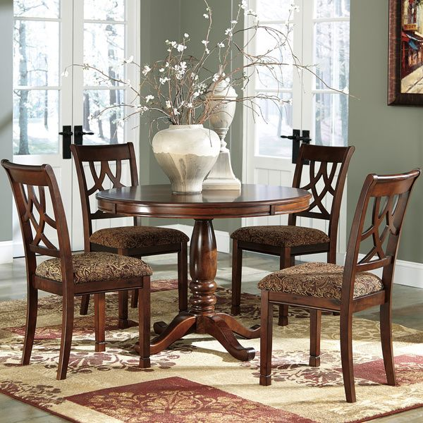 Dining Room Set Round Pedestal Table W Four Chairs Brown Cherry Wood Formal Part 44