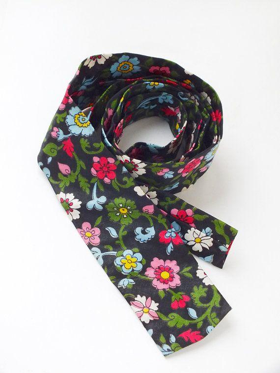 Vintage Multicolor Flower Print Necktie on Black by goodiesoldies