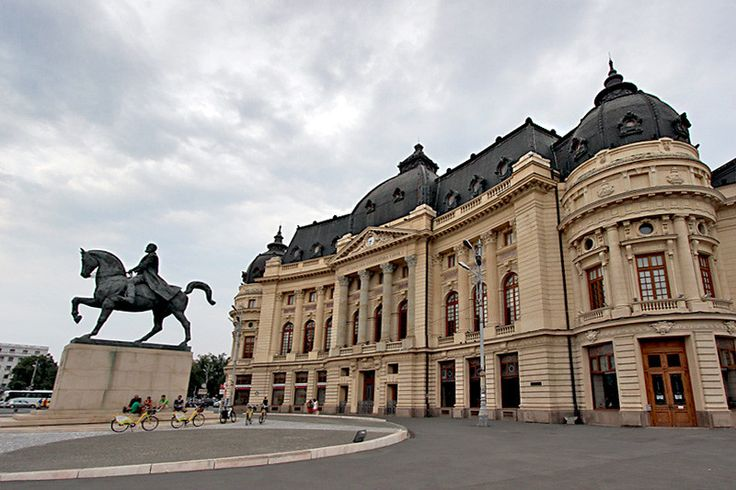 Statue in front of Central University Library in Bucharest honors King Carol I of Romania, who purchased land for the building