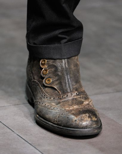 Dolce & GabbanaGabbana, Fashion Weeks, Sweet, Leather Boots, Men Style, Fall 2012, Men Fashion, Men Shoes, Buttons