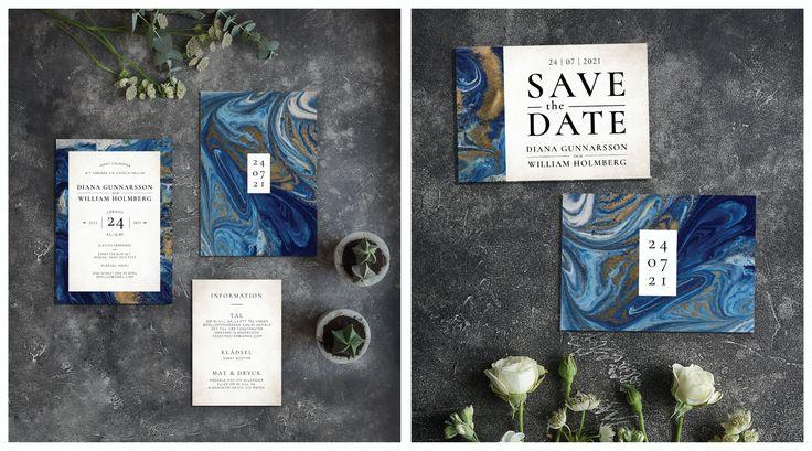 blue marble invitation and save the date card - blå marmor inbjudningskort och spara datumet