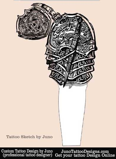 armor celtic tattoo sketch sleeve and chest by JunoTattooDesigns - Custom tattoos online made to order - http://junotattoodesigns.com/