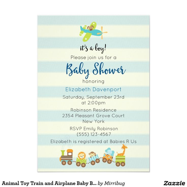 Animal Toy Train and Airplane Baby Boy Shower Card