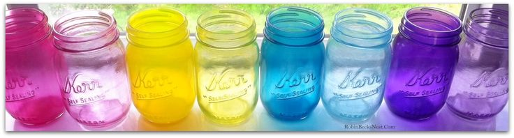The Robin's Nest: Tinted Mason Jars with Glass Paint...