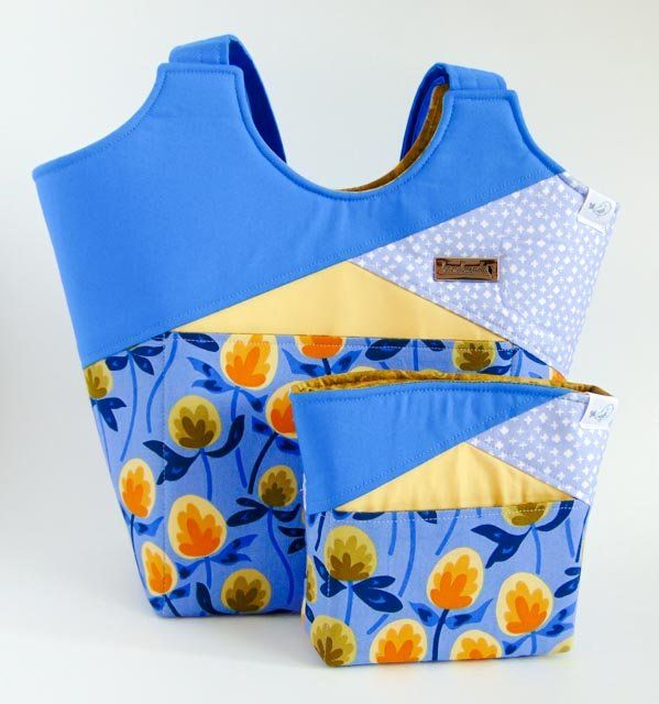 Blue Stand Up Tote and Clutch Set