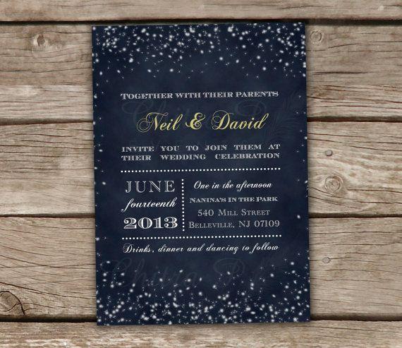 Midnight Blue Wedding Invitations - DIY Printable, Chalkboard, Starry lights, Starry Night