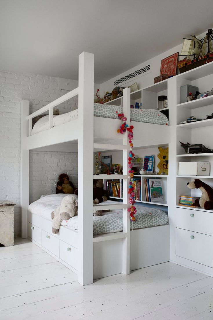 My kids have built-in bunk beds and drawers and the bedding is from Monoprix in Paris. Most of the furniture in the house is built-in.