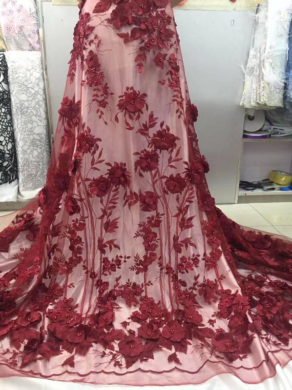 3D wine red lace fabric with flowers embroidered lace fabric